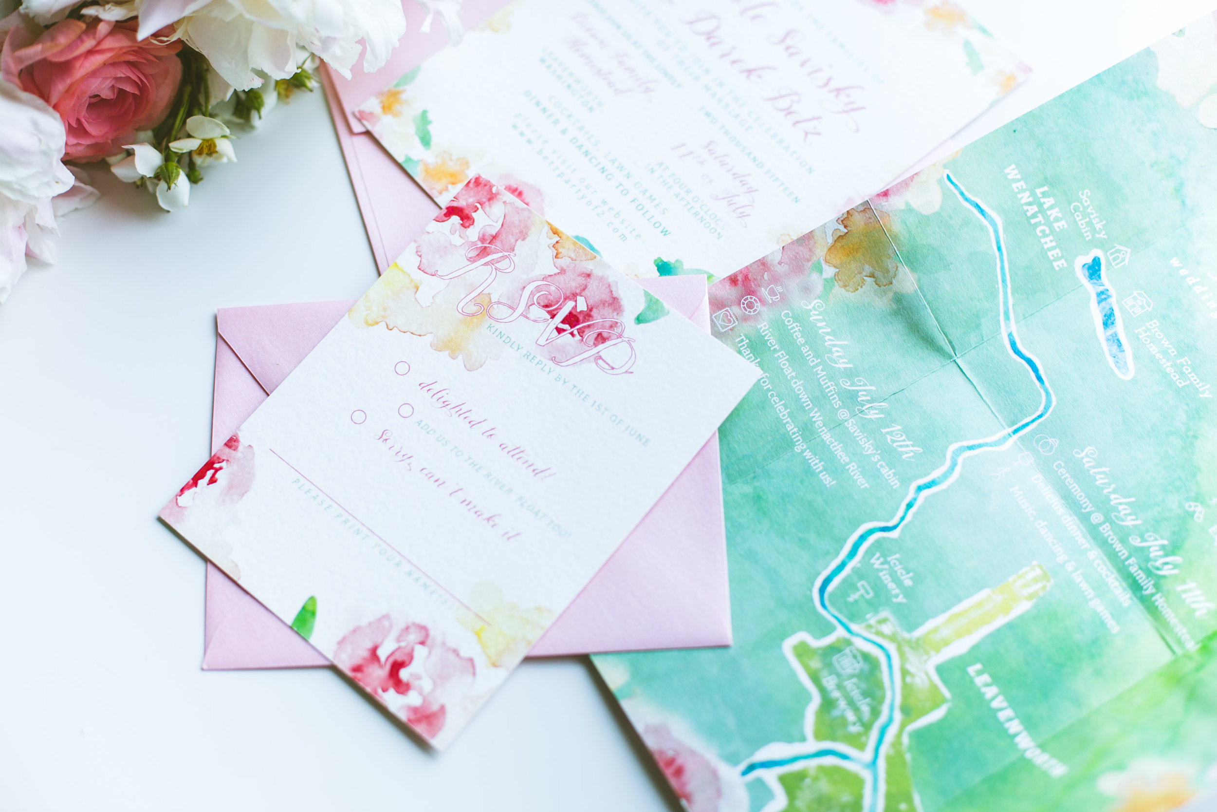 Wedding suite for an elegant & adventurous couple:Nikki & Darek's rustic-chic Leavenworth celebration was one not to be missed.  It was a really fun challenge to create a custom watercolor map with location & descriptions of the wedding weekend festivities.