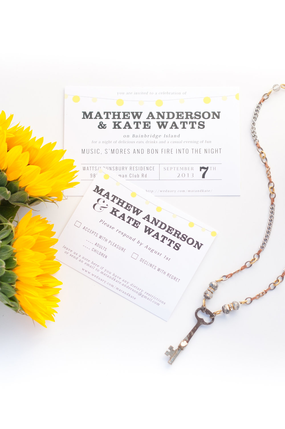 A clean, type-driven invitation suite with a simple string light motif, which was carried throughout the ceremony & reception.