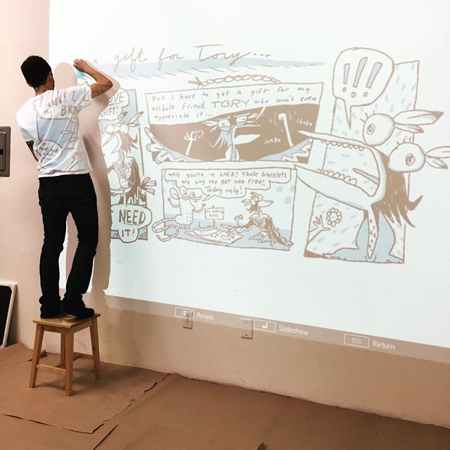 "Cartoonist @spinadoodles is getting prepped for his show this Friday!! Come hang out 7-11pm Friday 3/16, Sam will be releasing a limited edition poster, printed right here! And a new comic ""I'm Dead,"" about trying to stay positive in this sometimes-awful world. 🙃 Join us for the opening reception and a good time! 1499 E. 4th St 90033, with parking on Clarence. See you then!"