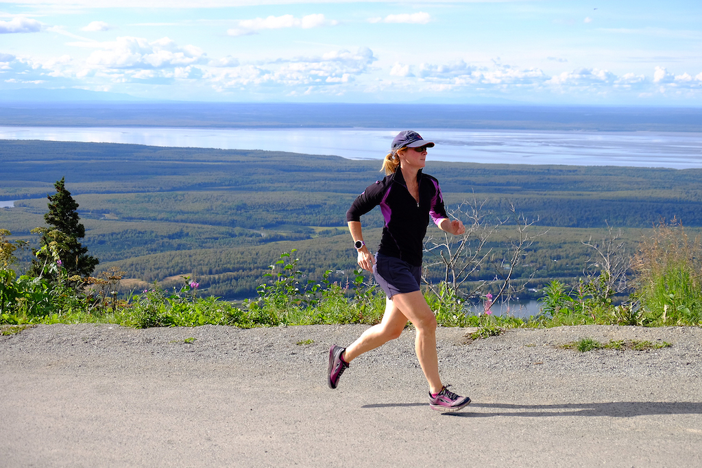 Photo credit/ Andy Hall  The author runs up Skyline Drive in Eagle River while wearing the Altra Torin 2.5 road shoe. Light and smooth with an accommodating toe box, this shoe offers even better sizing in its 3.0 version, available this season.