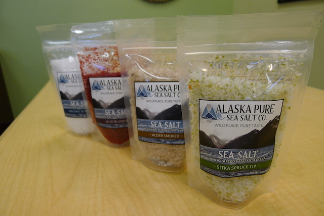 Photo by Melissa DeVaughn  Alaska Pure Seat Salt Co. has been making natural sea salt flakes since 2011, and its products carry a hint of Alaska with every use. Its most popular salt? The Sitka Spruce Tip salt flakes. (alaskapureseasalt.com)