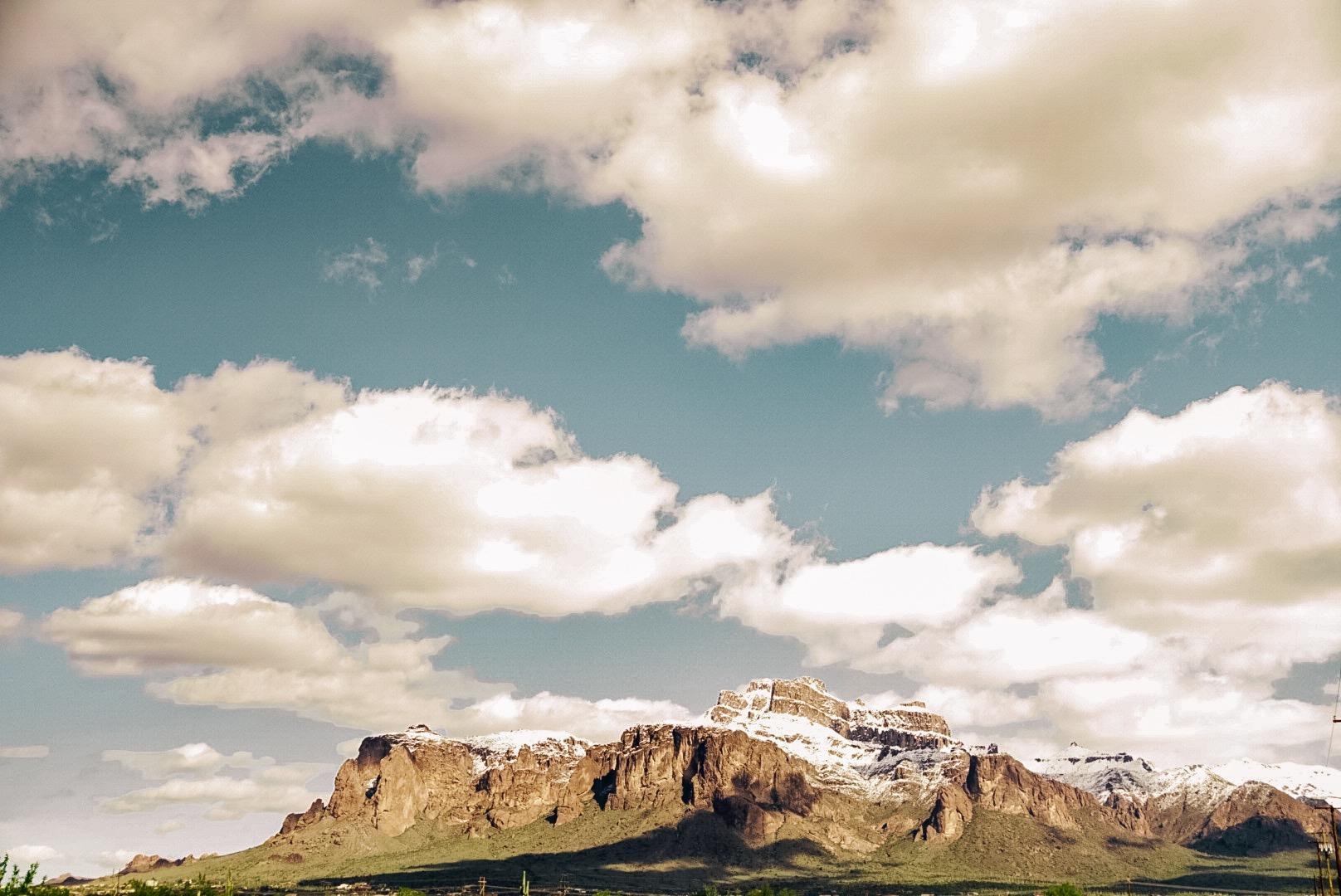 The rarely snow-capped Flat Iron Mountain |  Edward Arthur Dalton