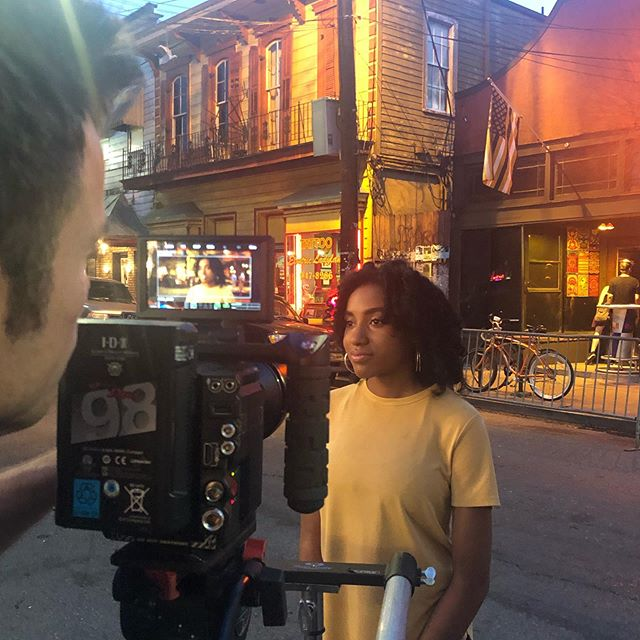 A little hair and makeup on Frenchman Street last night #bts with @fathappymedia and @tavnermurphy #neworleans #neworleansmakeupartist #naturalcurls