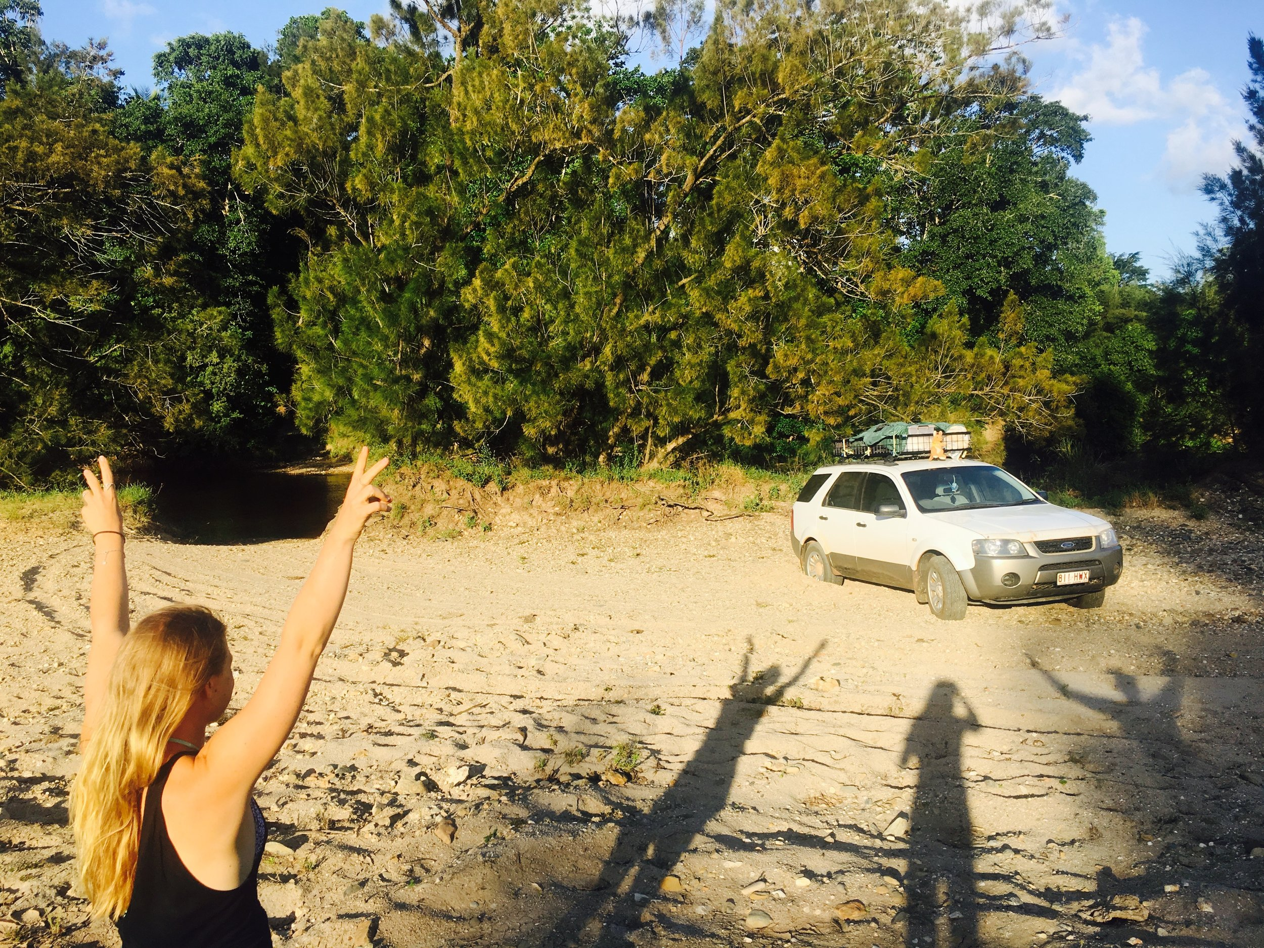 Stuck on the Daintree River, waiting for the Tractor to come pull us out