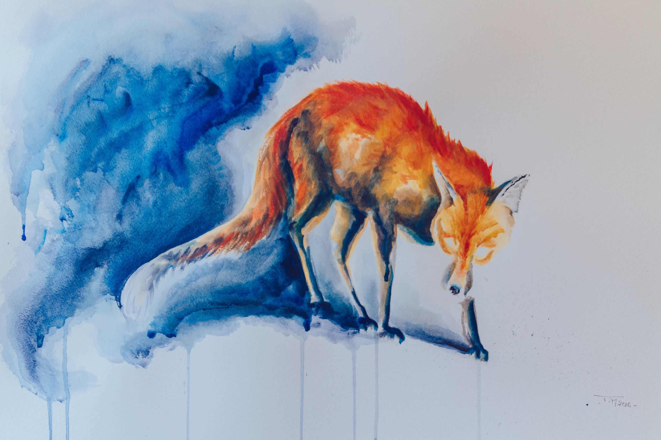 'Urban Fox'  Acrylic on paper  This is an earlier piece from 2016. It's a little scarier than my other fox paintings. I wanted to highlight how a lot of city foxes look; most often they are scrawny, mangy looking with patches of hair missing, especially on the tail. I wanted to make it look a bit like a rat as foxes are often considered as pests.