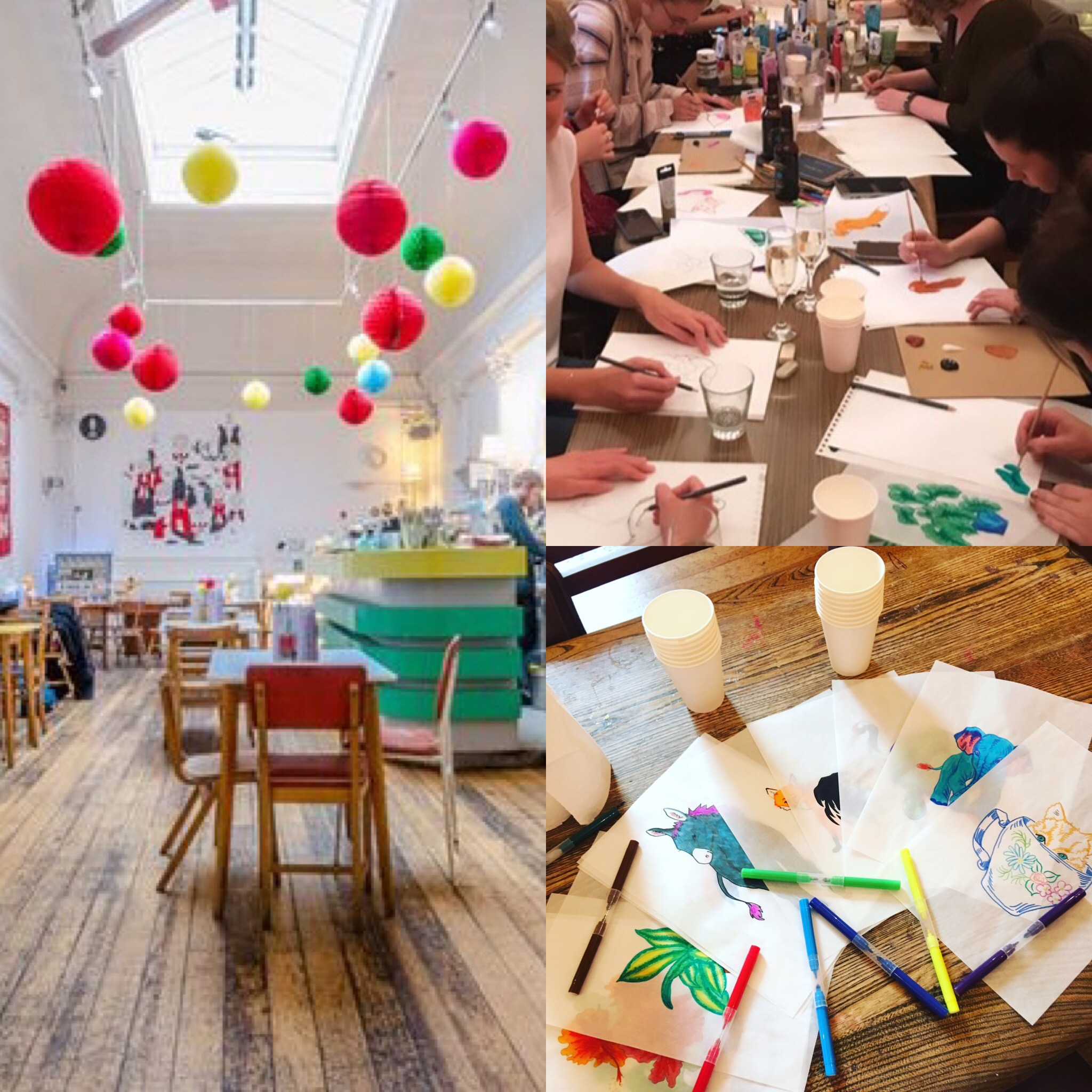 Create Your Own Artwork workshop in progress at Drink Shop & Do venue.