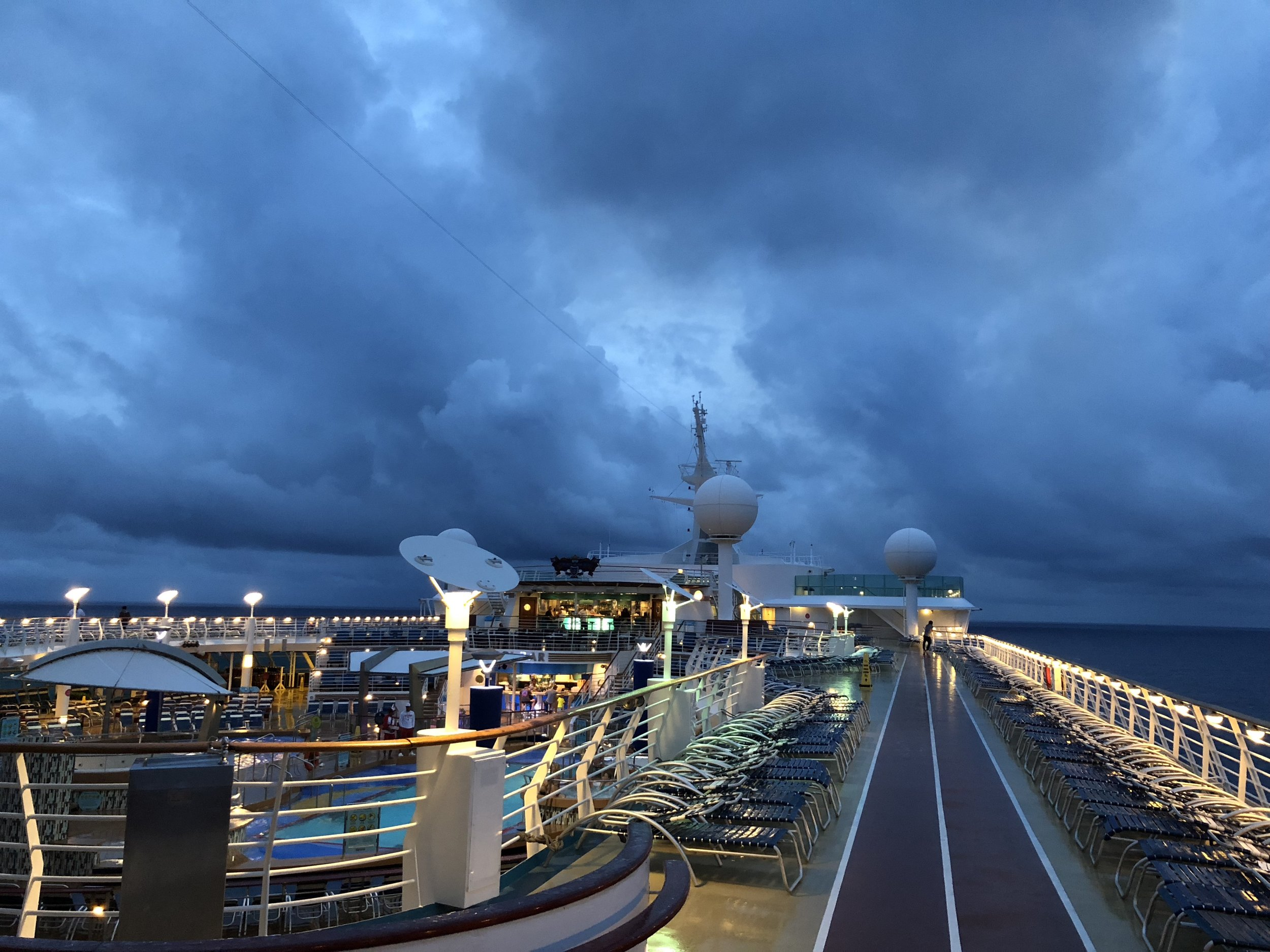 All kinds of weather when at sea.