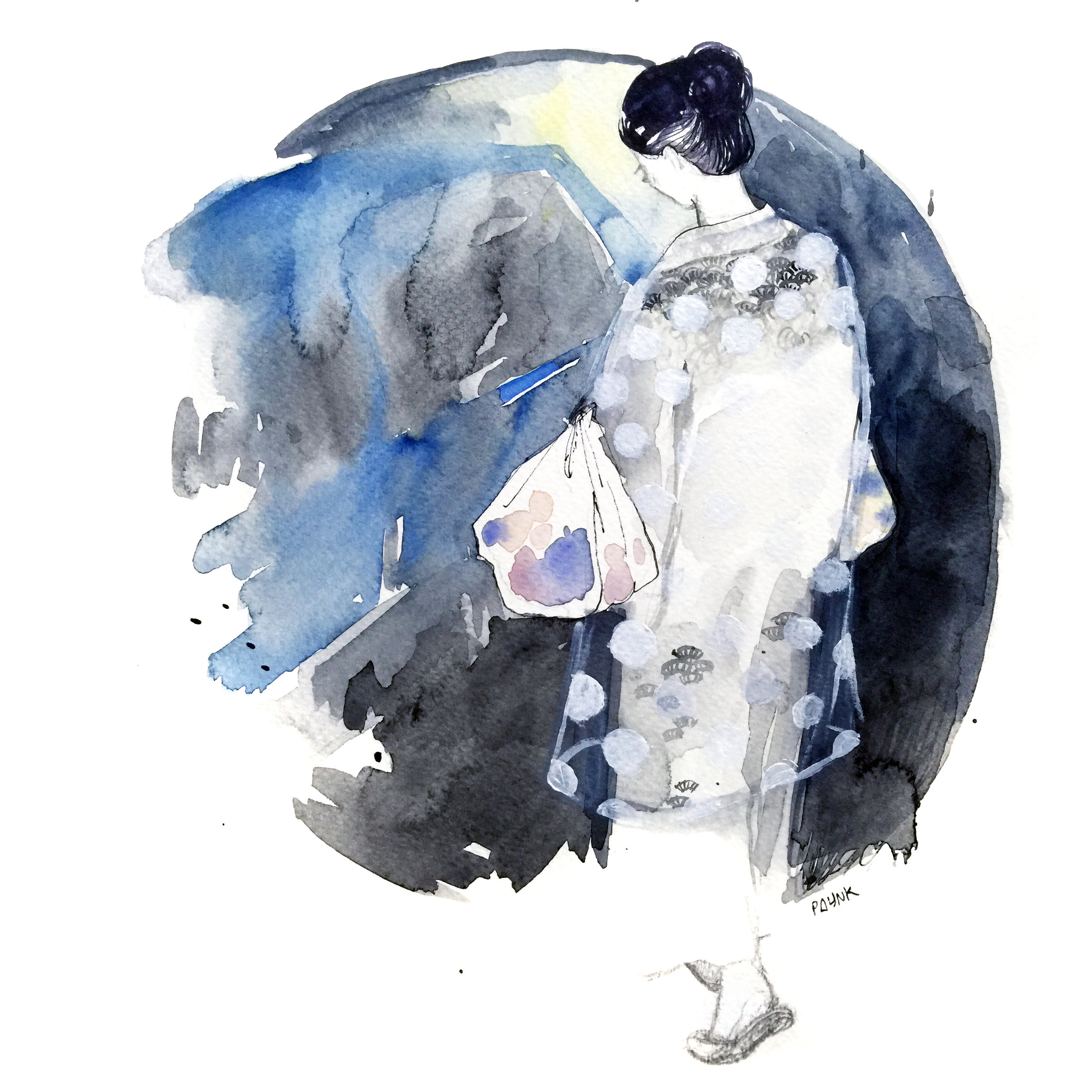 Unknown Japanese Lady   She was getting onto a cab, carrying loads of grocery bags on both arms, wearing a beautiful white  yukata  with a sheer polka-dotted robe thingy. It was so bizarre and interesting but it happened too fast for me to take a photo. So I drew a picture afterwards.