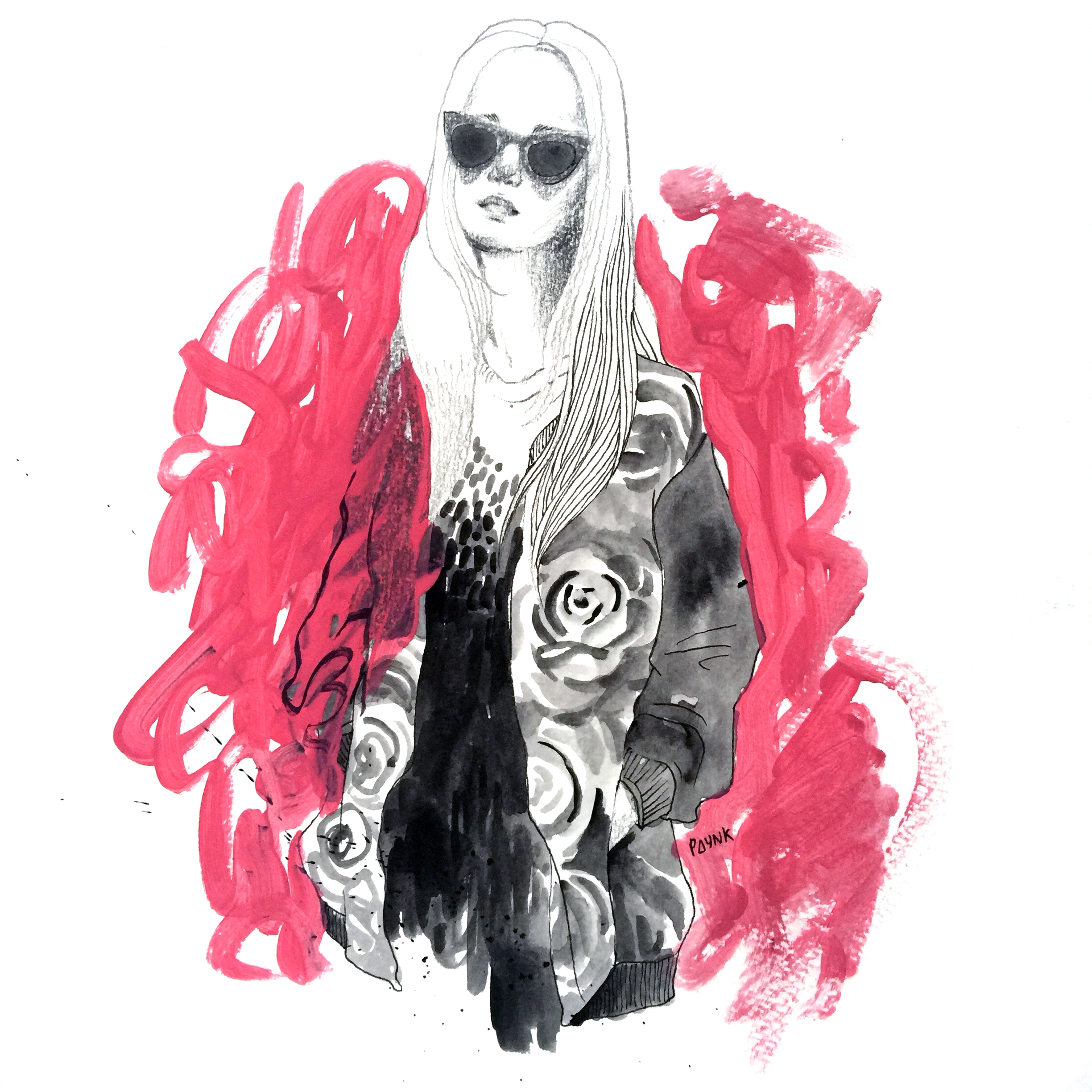 Ellie   Didn't get to speak to her much because 1. I was rushing off 2. she was very pretty I was very shyyyyy. She was working at Depression and she chose to put on this B&W roses jacket from their store for me to take pictures and draw. Such fun to draw!
