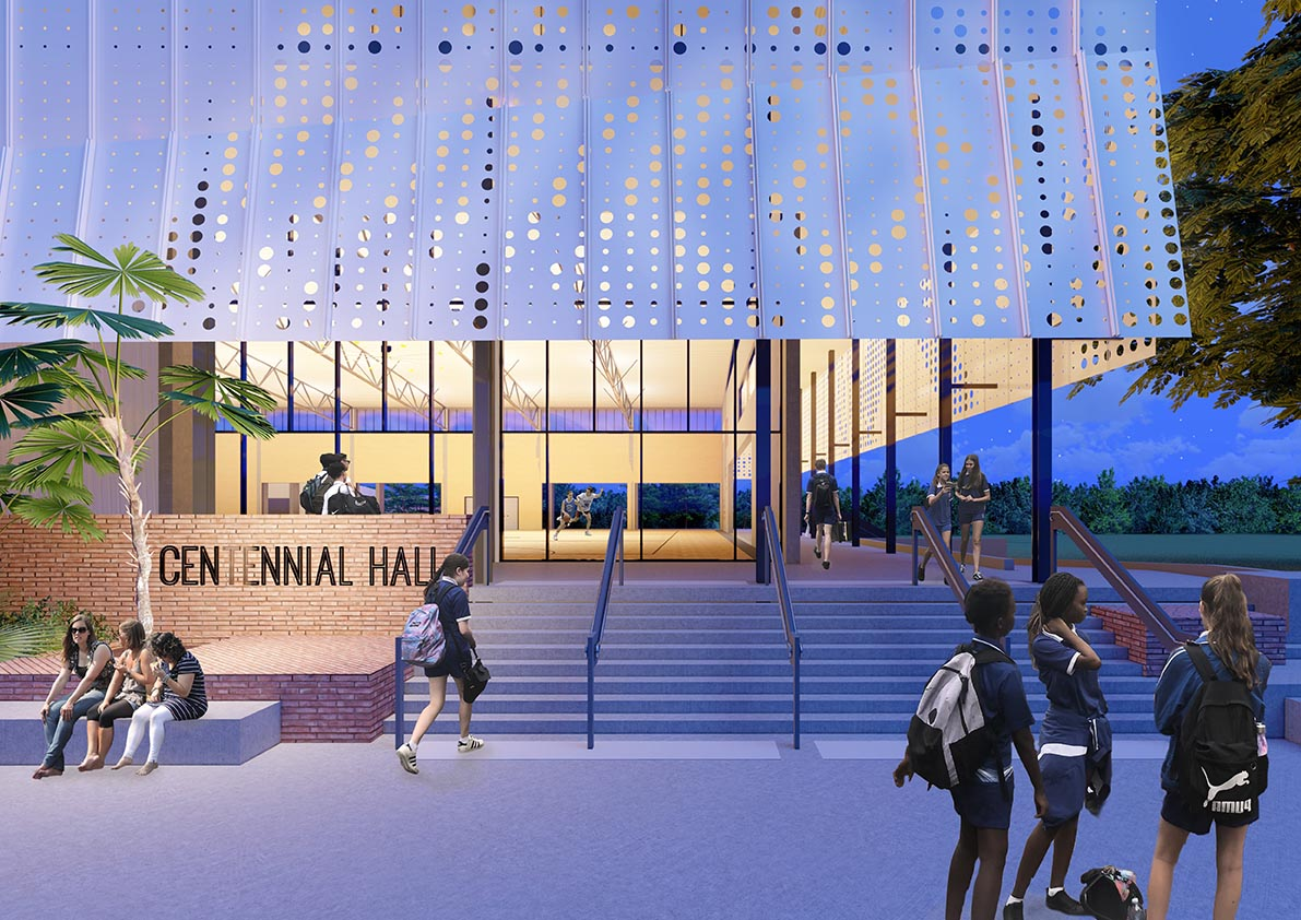 Grafton Street entry to Cairns State High School's new Centennial Hall by TPG Architects