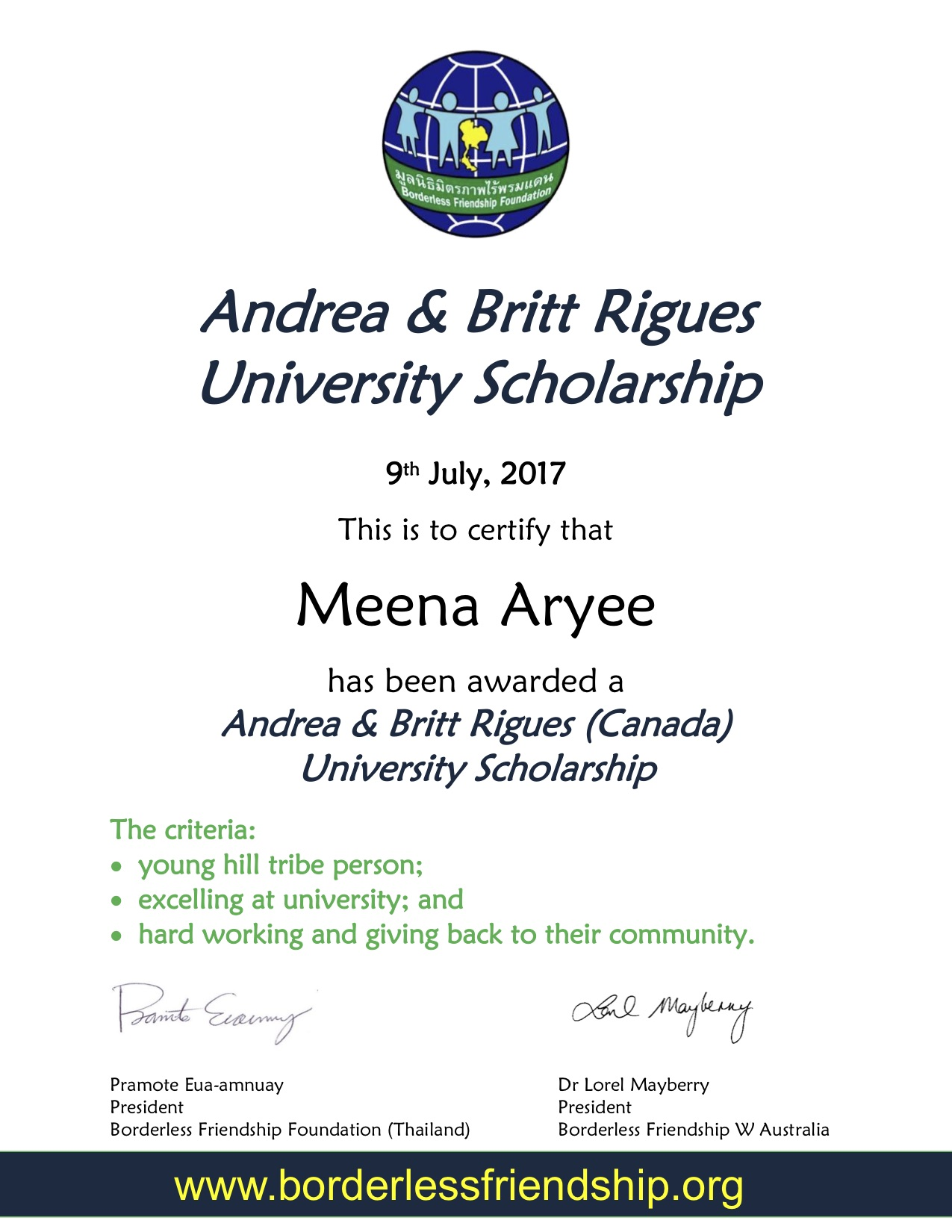 Andrea & Britt Rigues University Scholarship - Meena Aryee.jpg