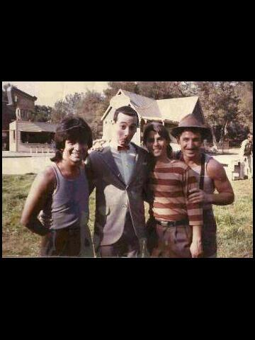 Sacha (far right) with Pee-Wee Herman - This was sacha's first speaking role in a major motion picture! he thought his accent would be a huge liability but it turned out to be perfect for his role as one of the charming piccolapupula brothers.