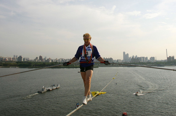 Sacha crosses the Hanging River in Seoul, South Korea. Photo: International Herald Tribune.
