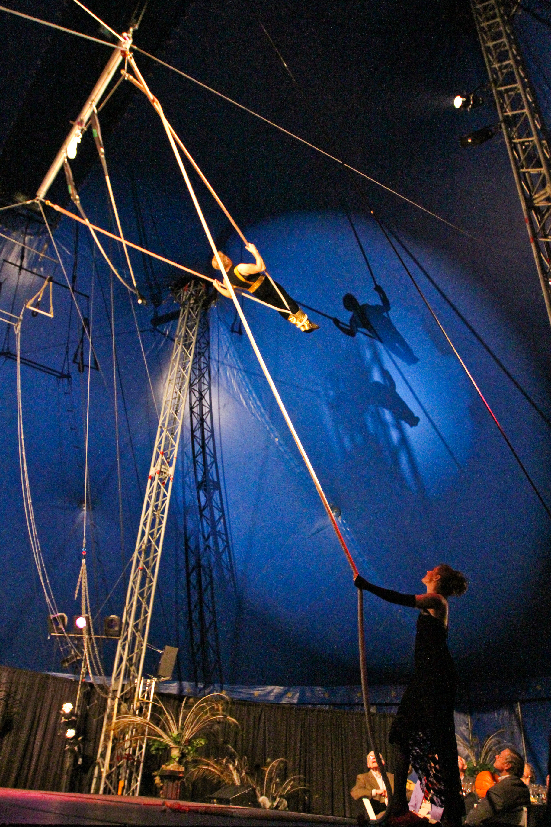 Sacha performs on Cloud Swing with his wife Melinda holding the rope!