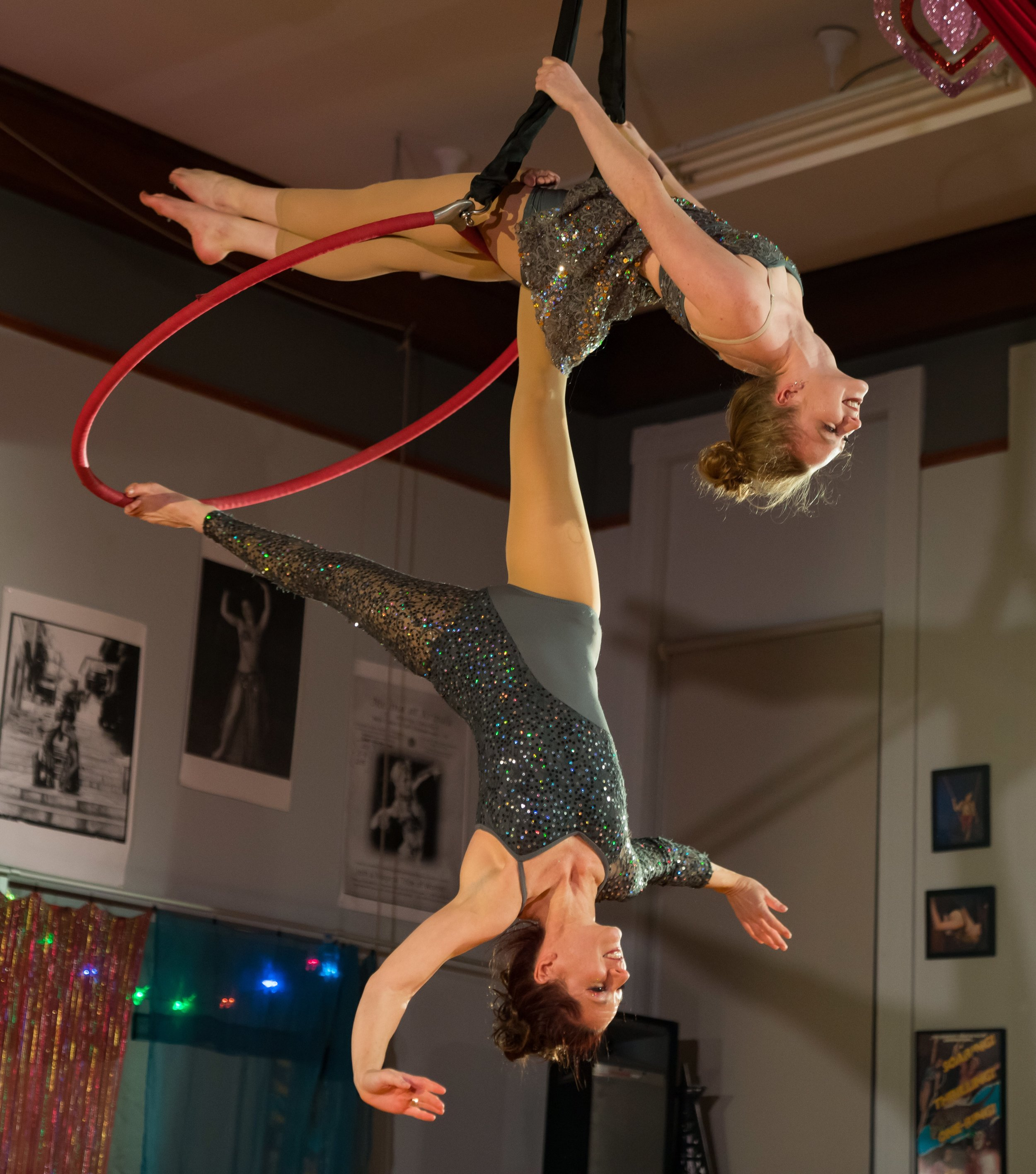 Melinda dangling from her daughter Zoë Heywood. Photo by Bruce Mount.