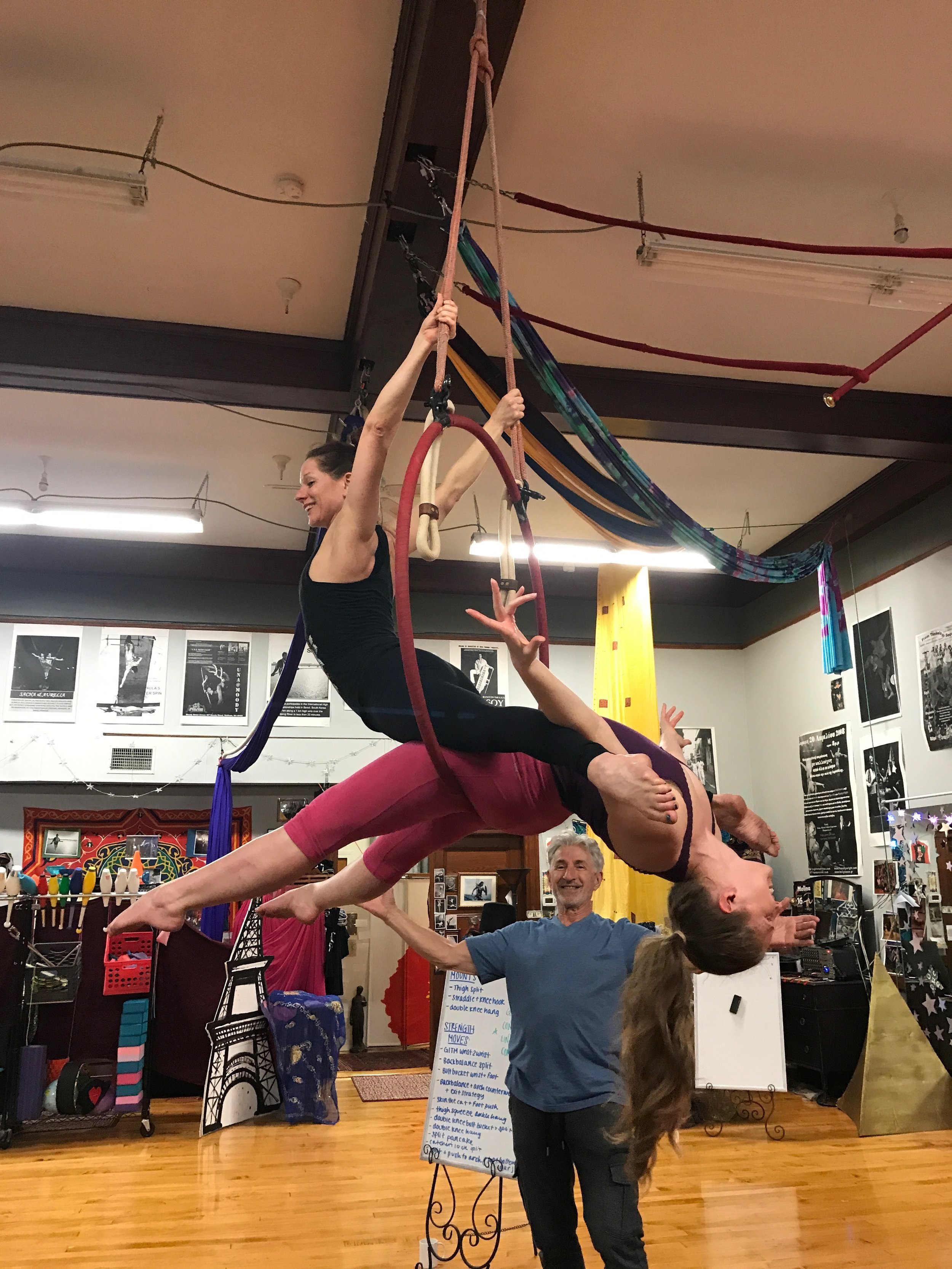 Aerial arts workshop at Moody Street Circus