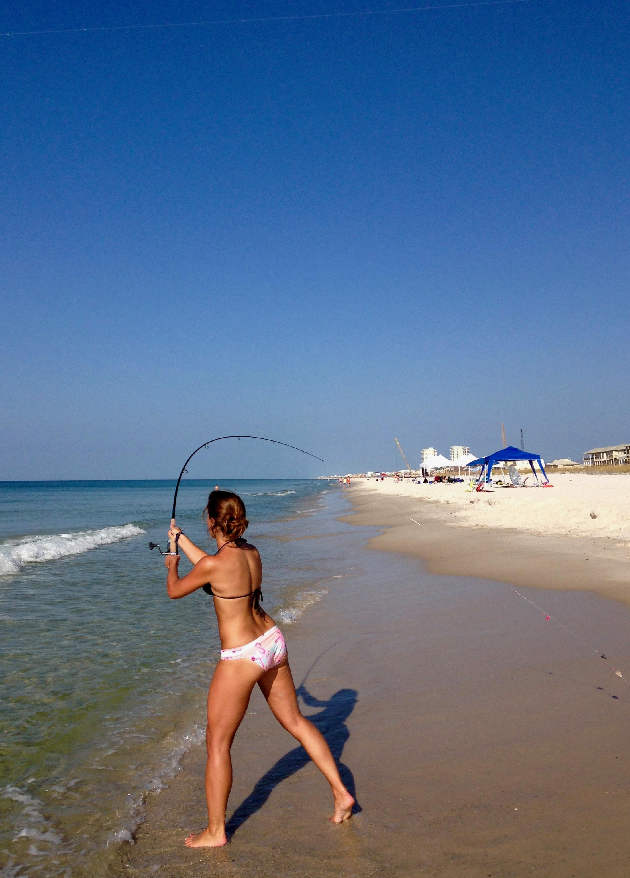 Fishing off the surf