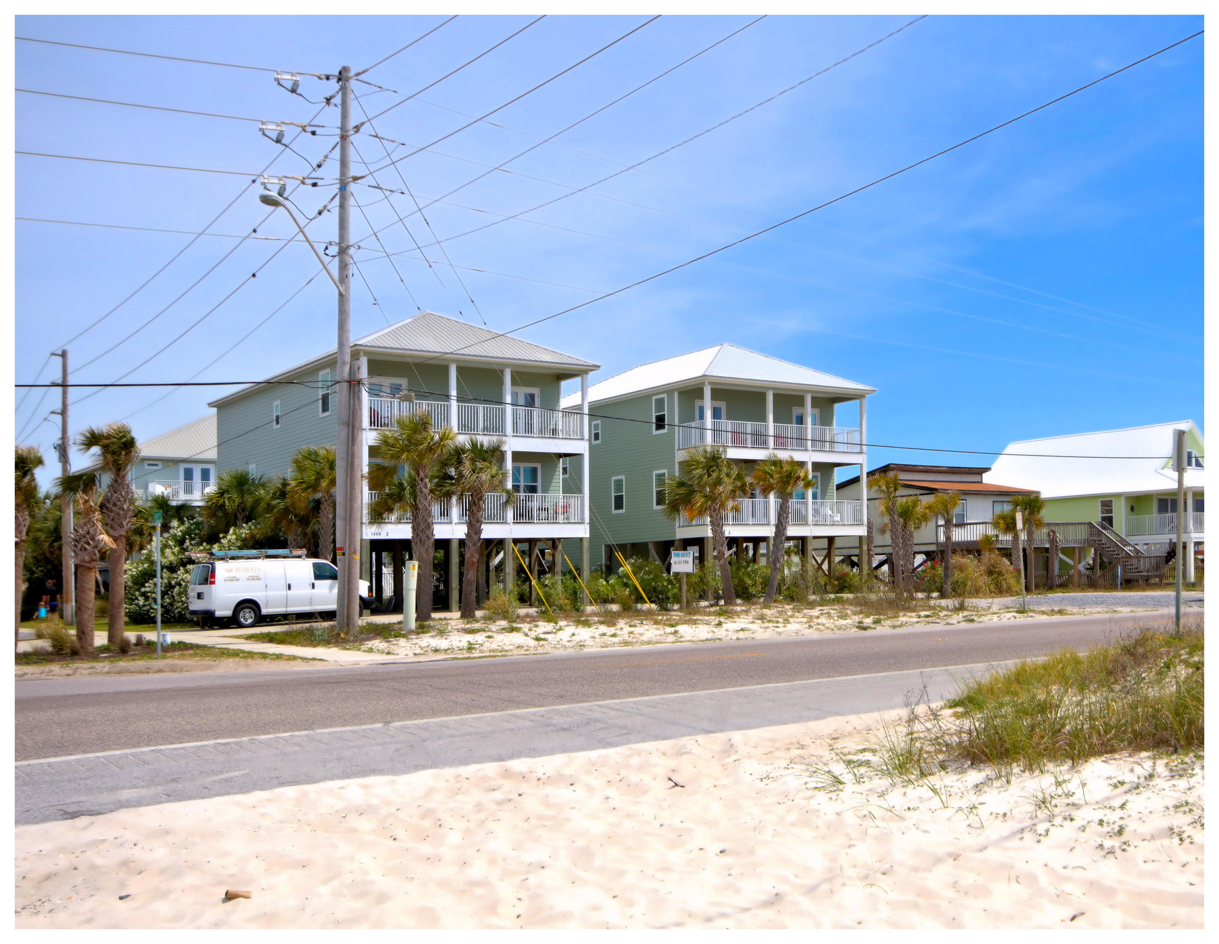 View of the houses from the beach