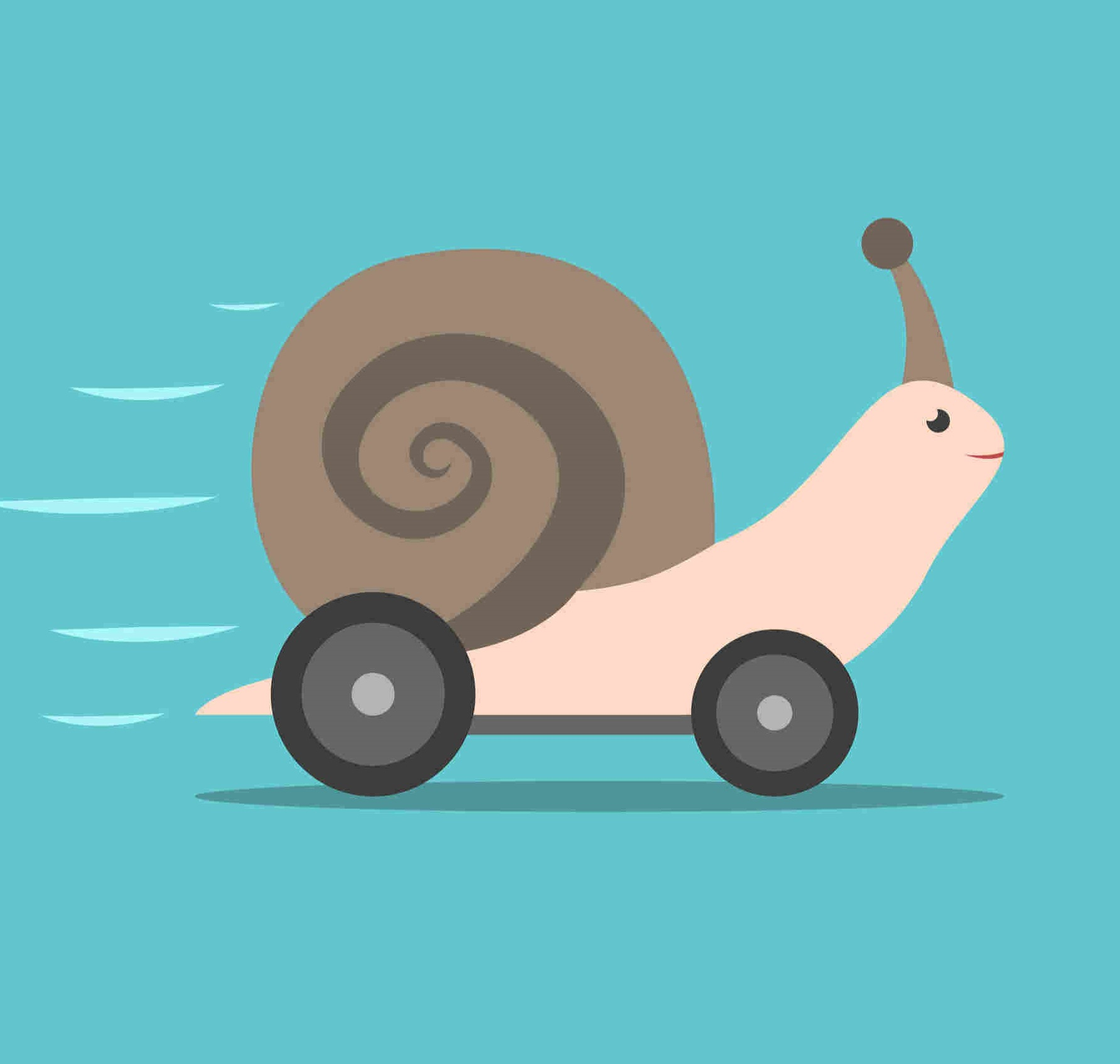 speeding snail on wheels graphic