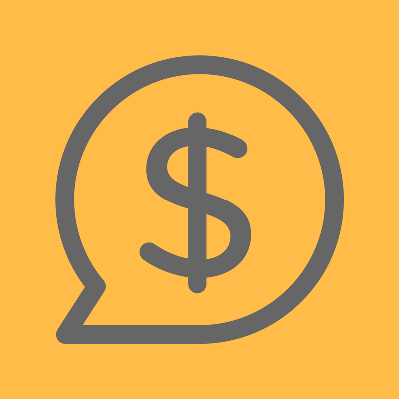 speech bubble with dollar sign illustration