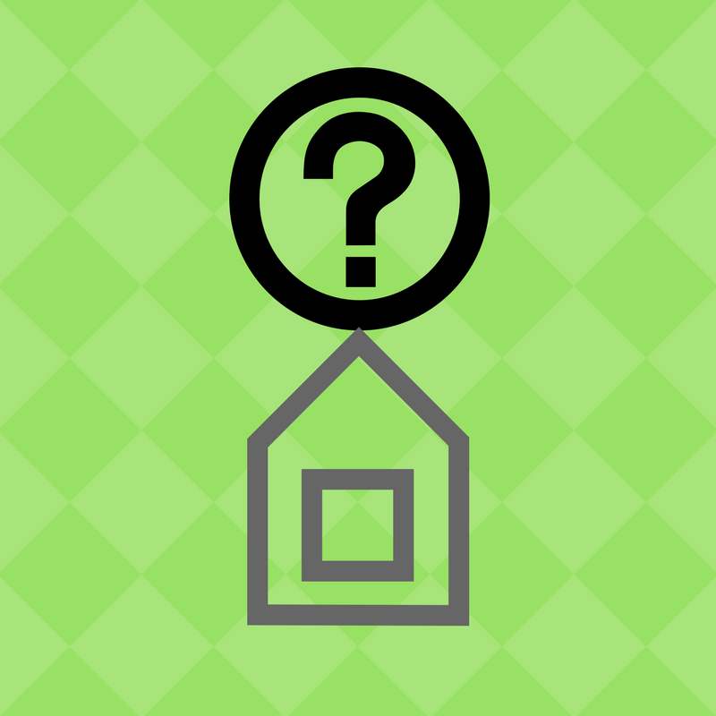 house with question mark on top illustration