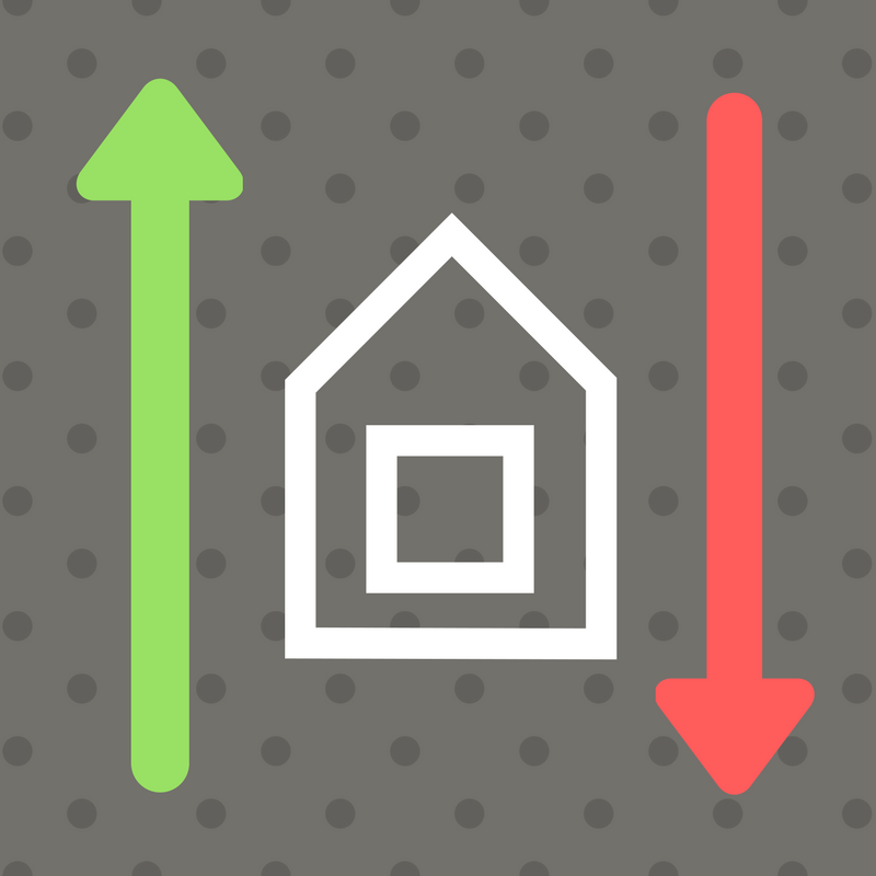 house inbetween up green arrow and down red arrow illustration