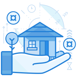 house held on palm of hand graphic