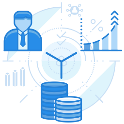 stacked coins, charts and man in suit graphic