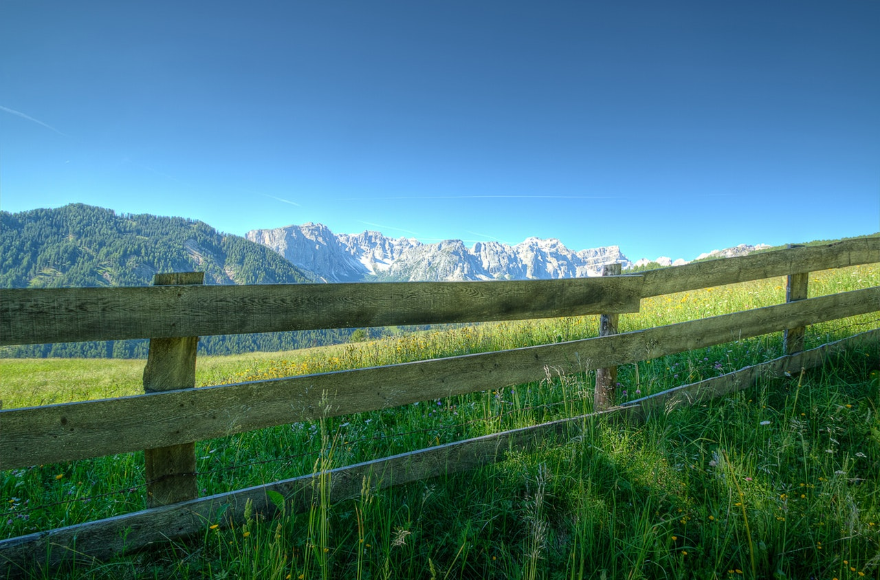 fence on large grass area with mountain in background