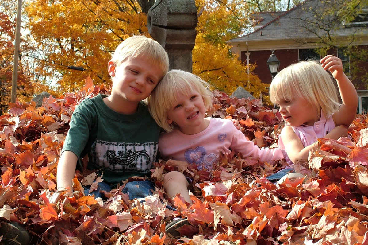 boy with sisters seated in autumn leaves.jpg