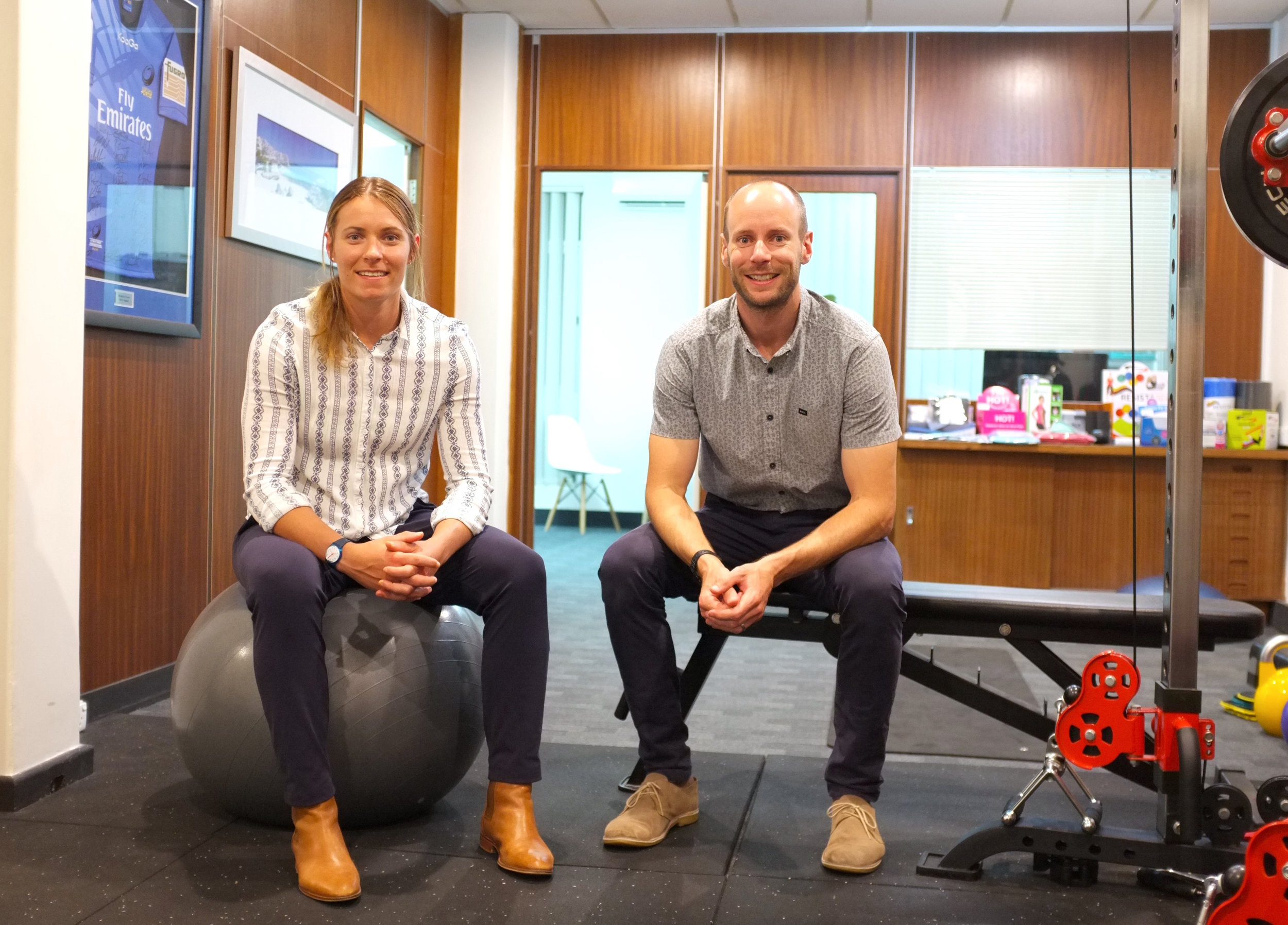 Nicola and Ben in the Stack St Physio gym.