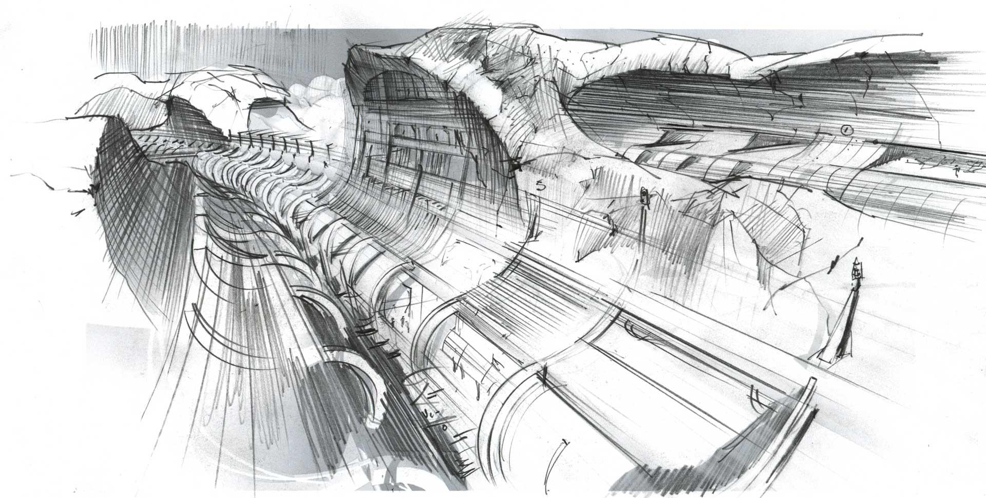Cross Martian Corridor - Exposed tunnel segment by valles Marineris toward europa.