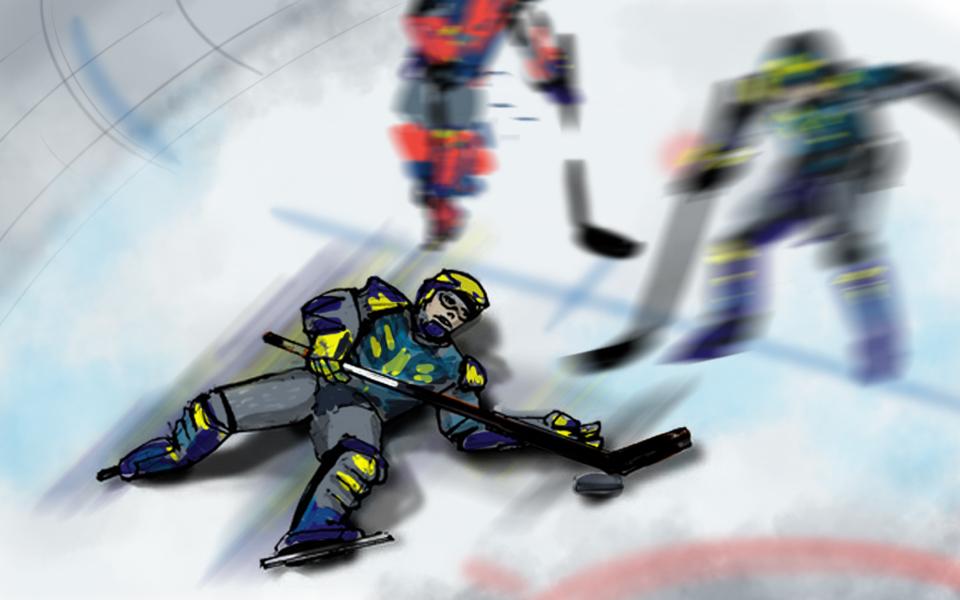 Defenseman Martin Bartschi spent ample time on the ice, horizontally.