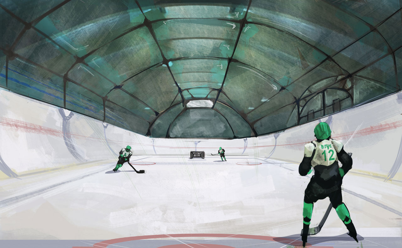 Khimik takes to the ice.  The team was named after the Chemical Engineers that first starting recreational ice skating on the frozen water deposits north of Korolev.