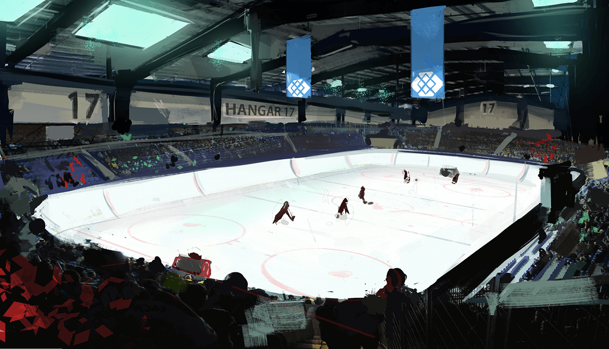 hundreds of fans look on today at europa's sold-out rink