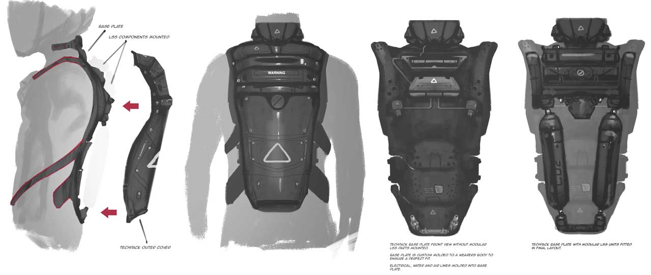 Tech pack components extend life support capacity and will include newer safety countermeasures. The packs are reverse compatible with the propulsion systems integrated into previous generation EV suits.