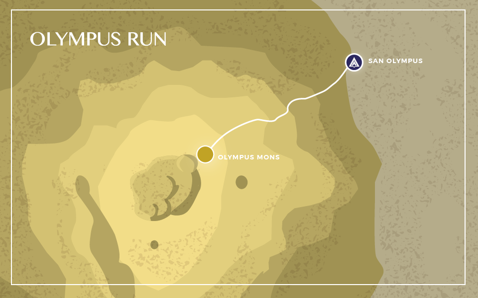 the 180km route takes runners from the gates of San Olympus to the edge of the calderas at the peak