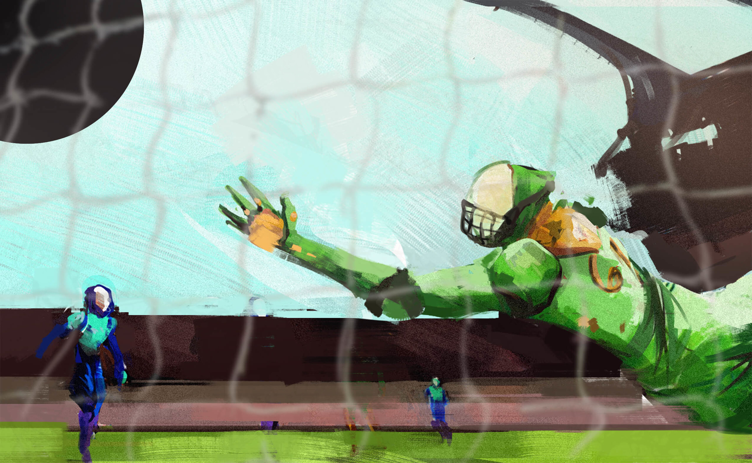 badal dives for the ball, but is unable to reach it due to an alleged equipment malfunction.