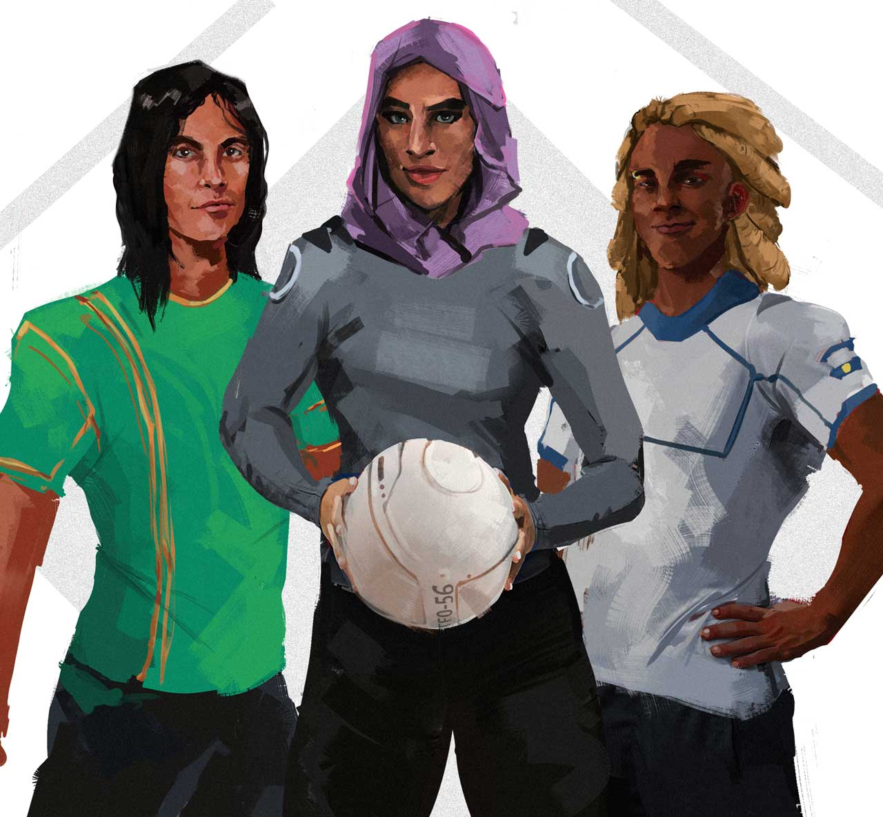 From left to right: Uday Lanka (#7 Immortals Captain), Arwa Farra (#18 Al'amal SC), and Darkeem Dennis (#7 Europa United)