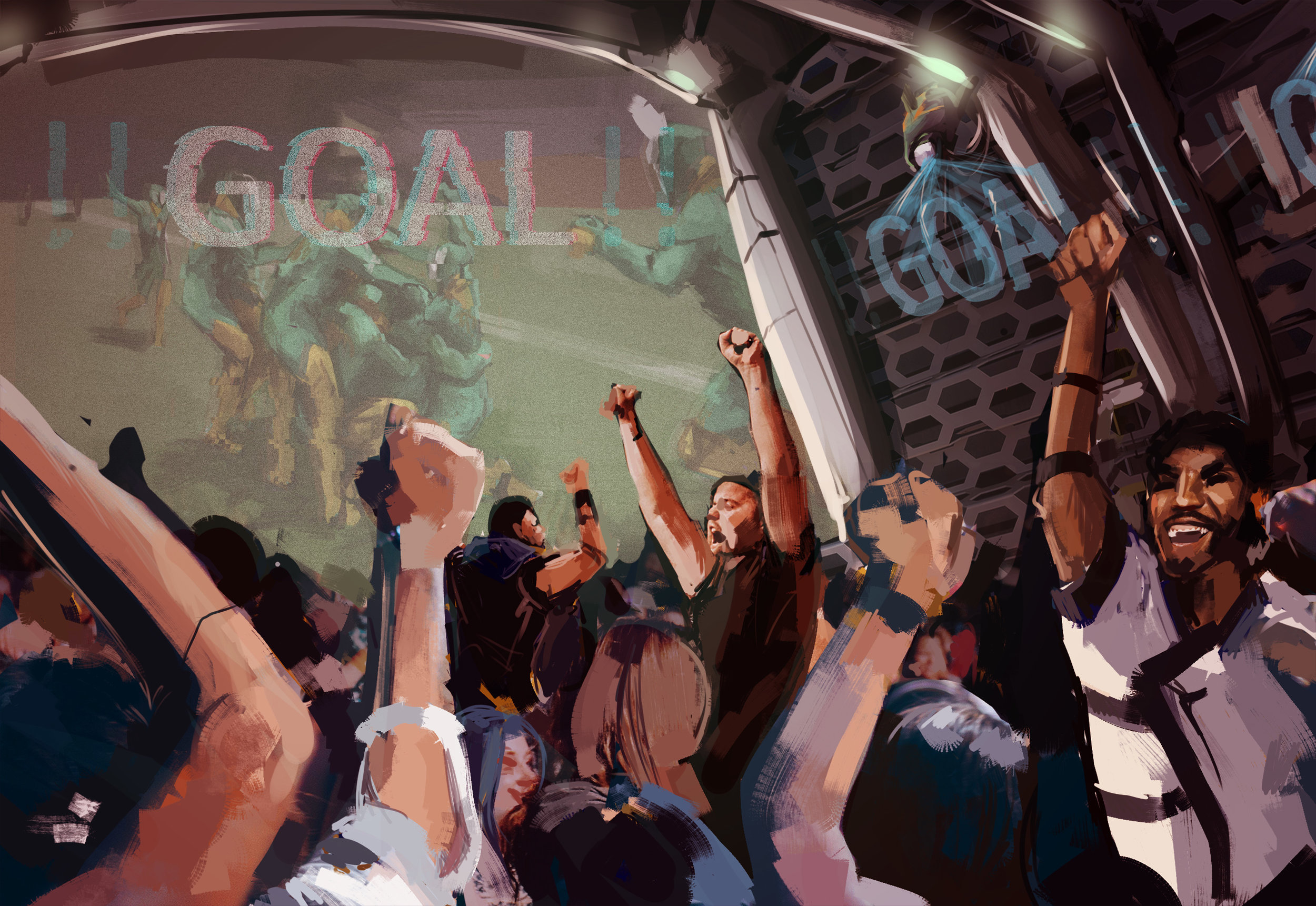 FAns cheer as Covaci scores the winning goal for United in extra time.