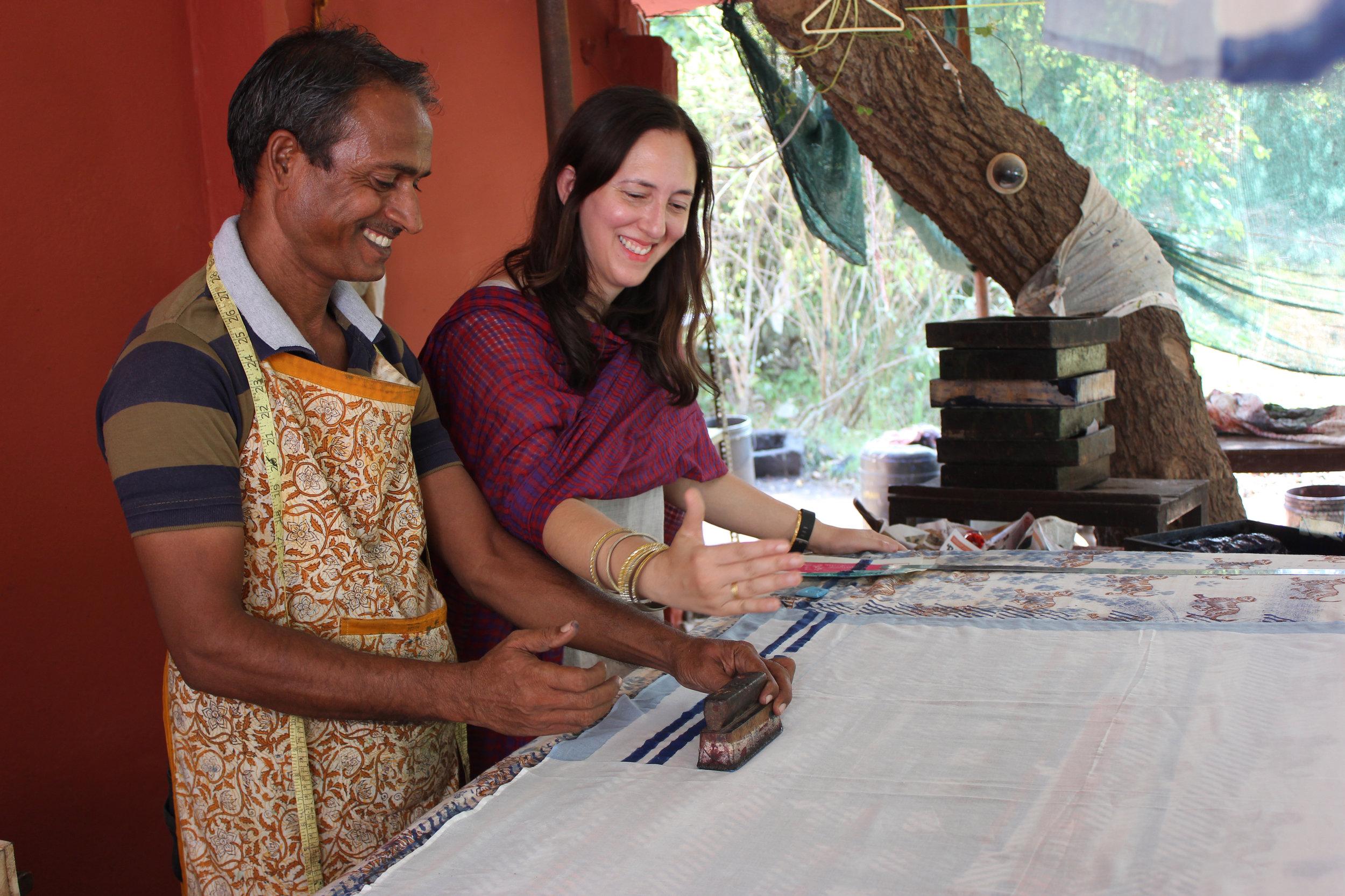 Payal working with Kanhaiya on the Indian Roller FLIGHT design.