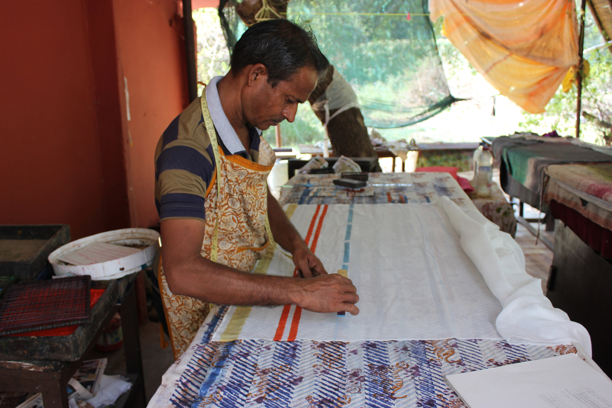 Printing the Indian Pitta scarf style.