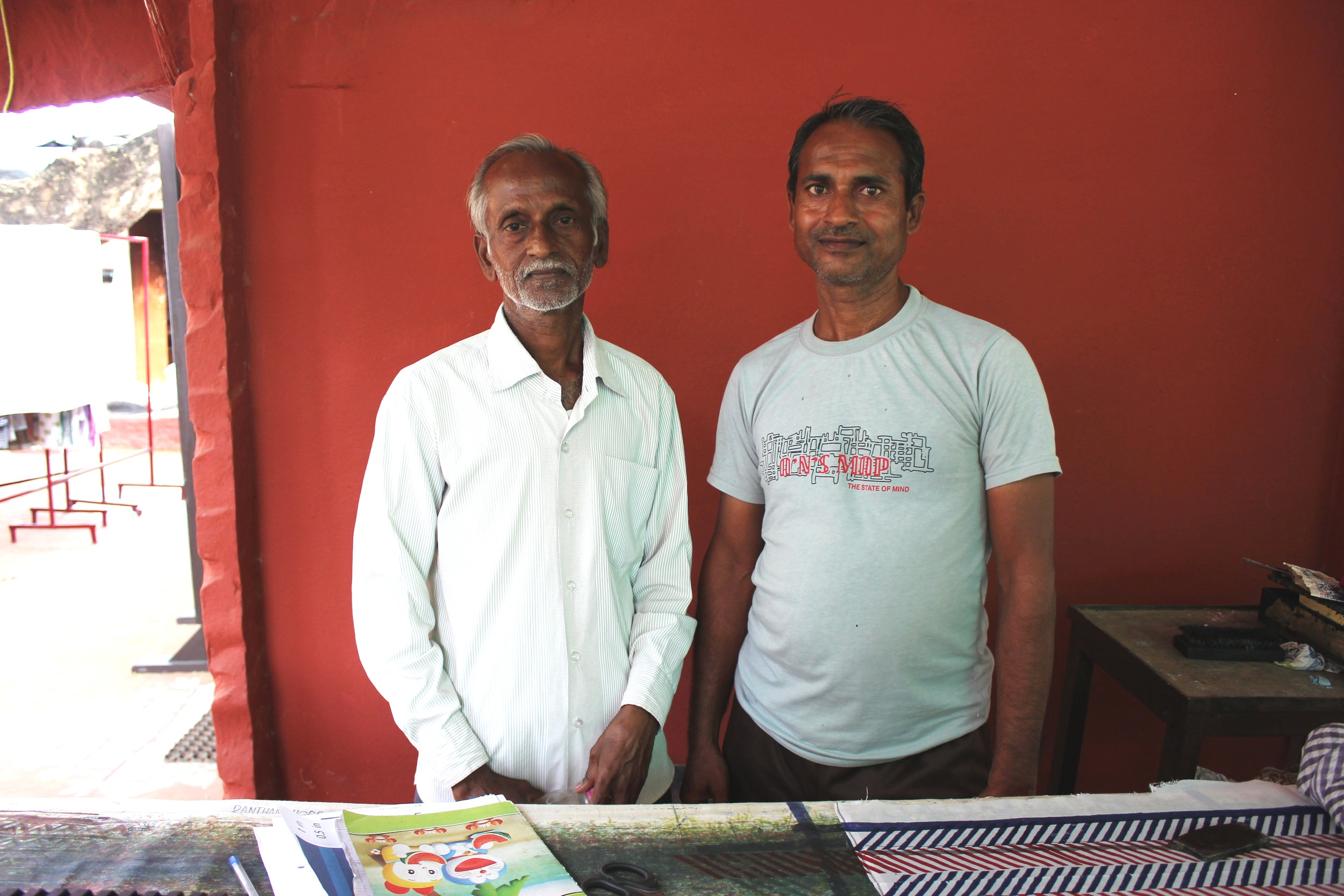 Gopal ji (left) is an expert dye mixer who excels at matching colors. Kanhaiya (right) is a skilled and patient hand block printer that worked with us on all 3 of our designs.