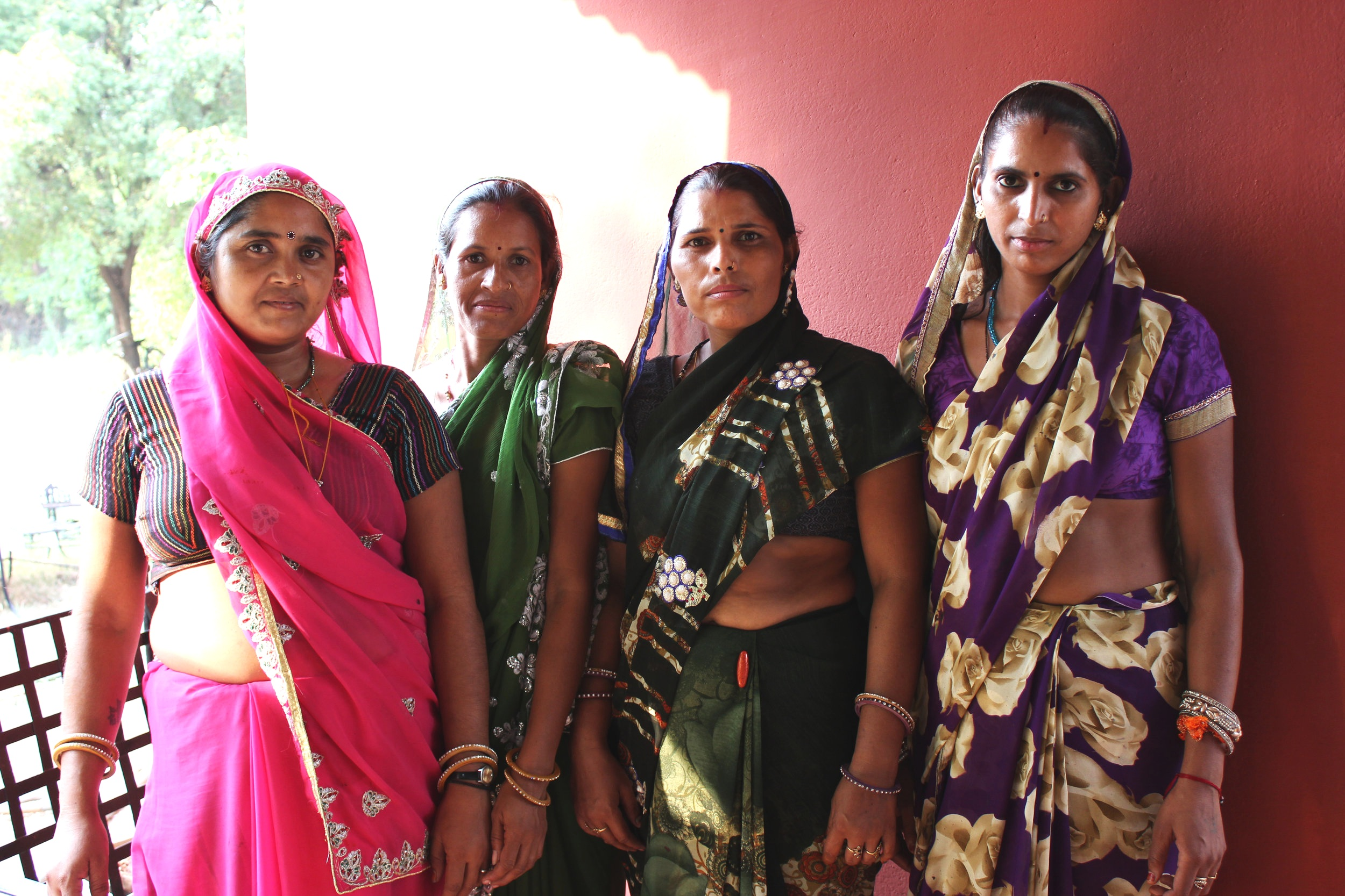 Other hand block printers we met at DHONK. From left to right: Sushila, Usha, Mamta, and Raji.