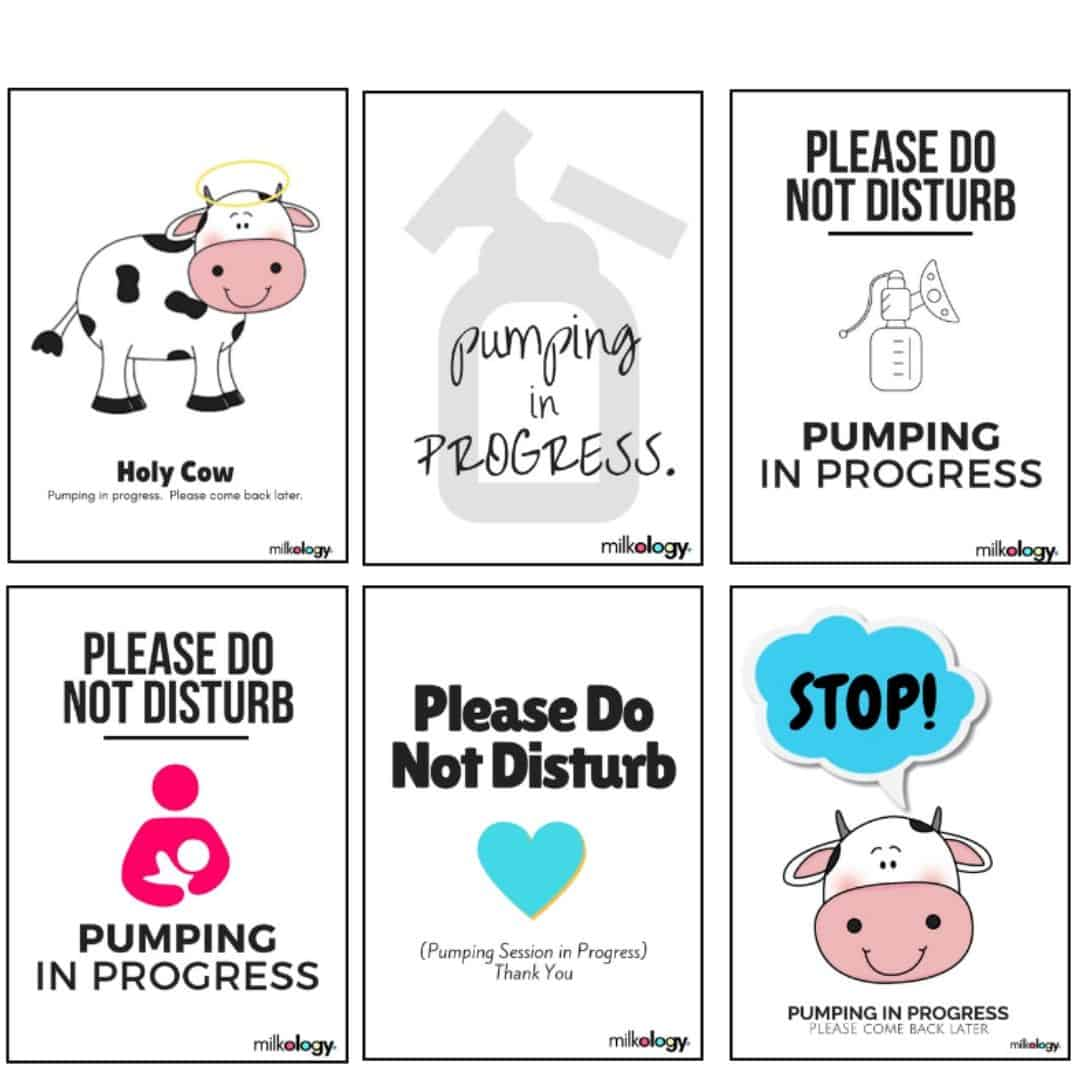 6 Printable pumping door signs - Print out a cute sign, and pumping privacy will be yours - wherever you are!