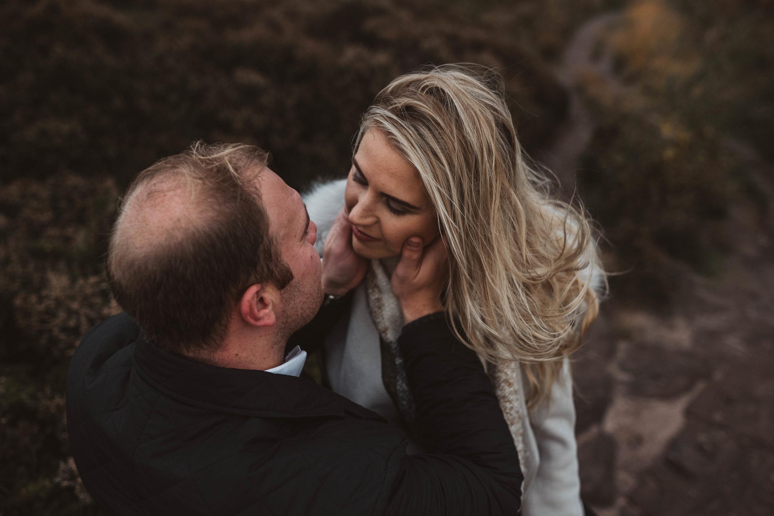 romantic and passionate hug