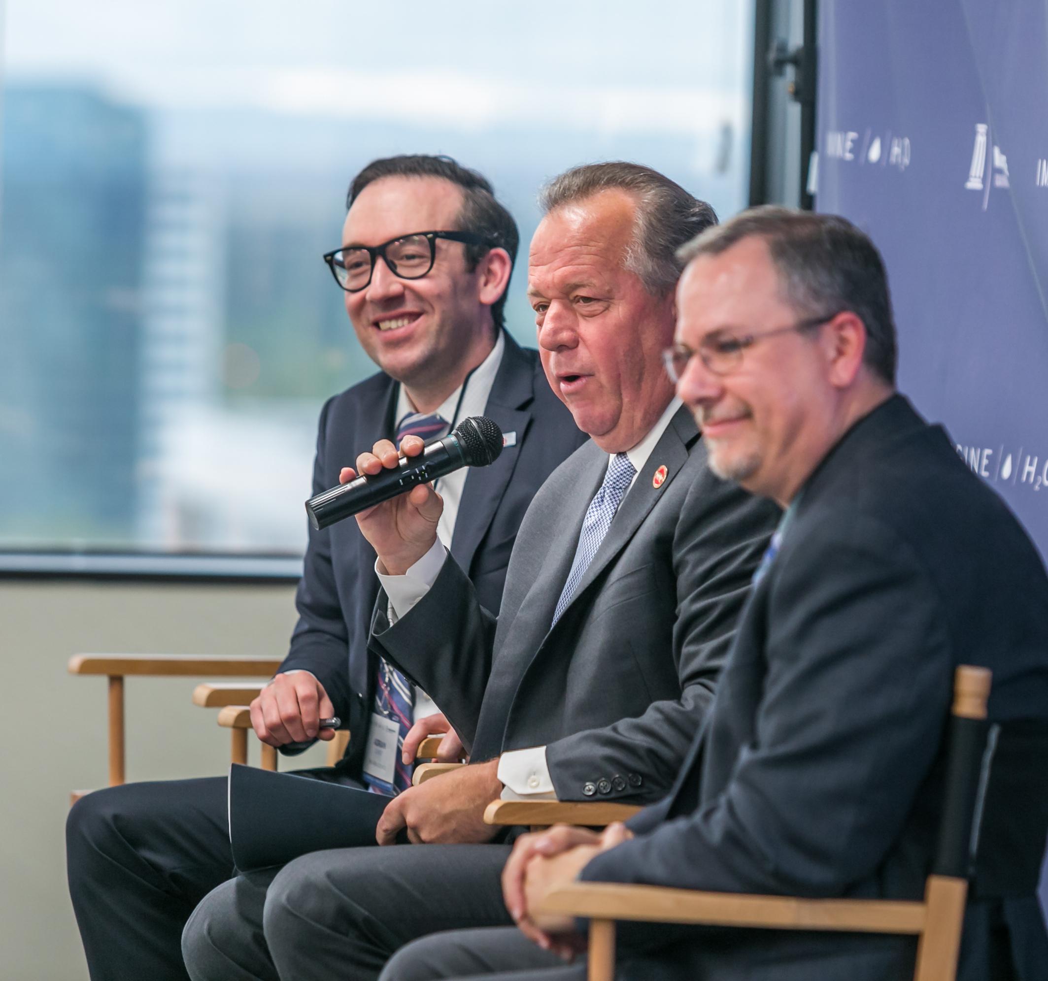 Adrian Covert, Bay Area Council; Senator Dodd; Mike Myatt, Water Foundation