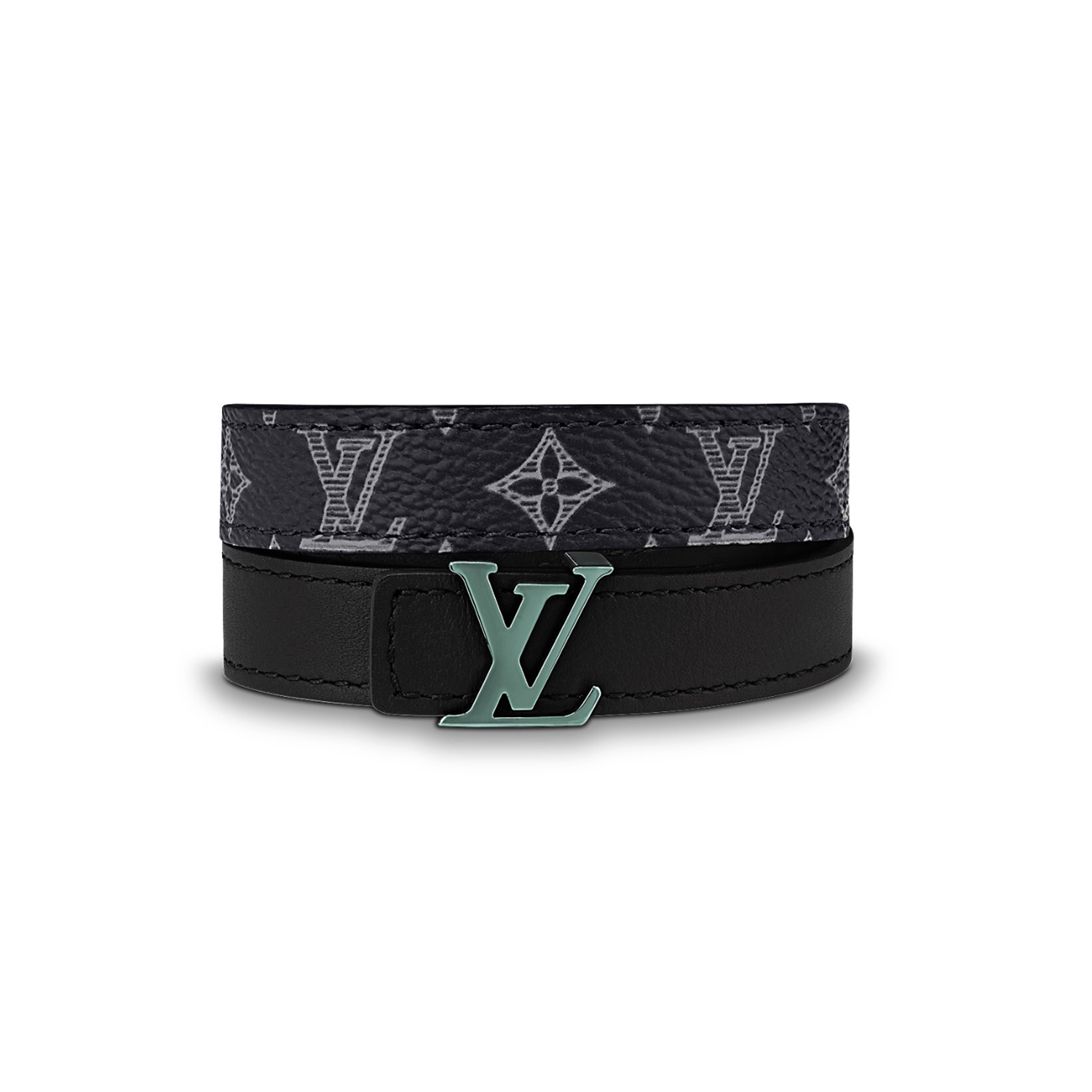 INITIALES 14MM REVERSIBLE BRACELET - €275 $405M6428DMONOGRAM INK BLACK