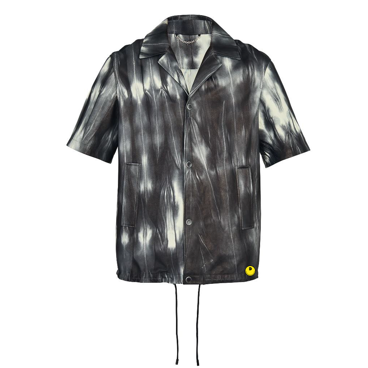 LEATHER TIE AND DYE SHIRT - €4500 $-NOIR