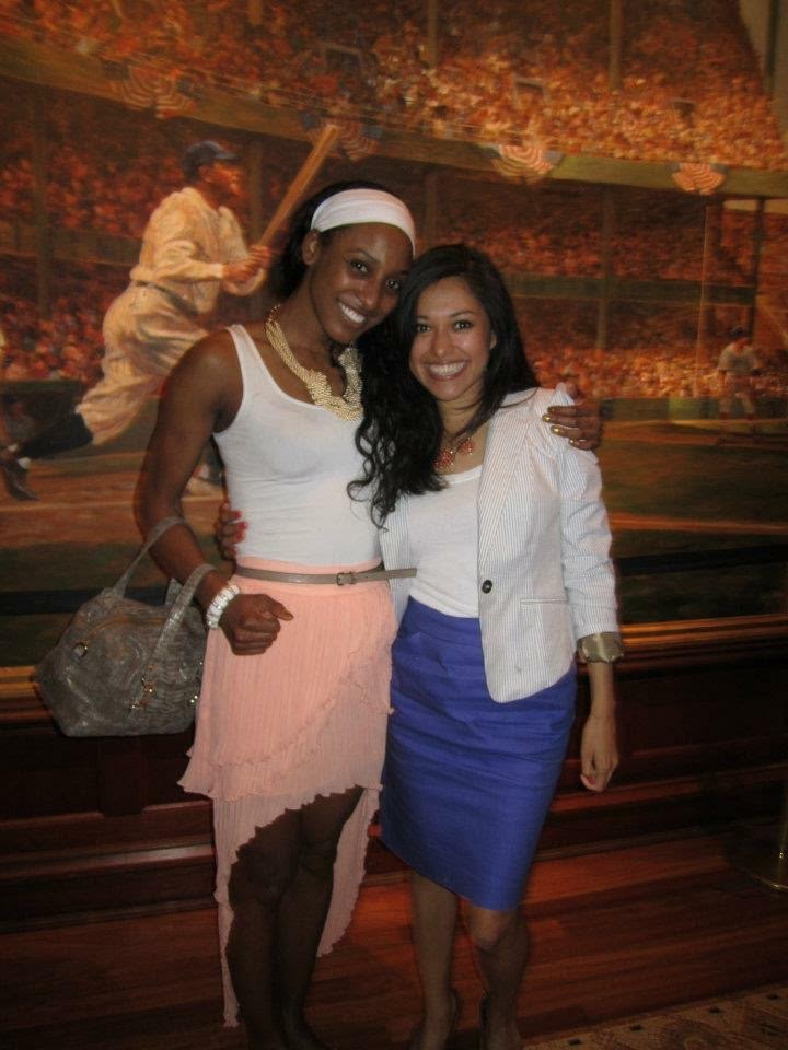 My other freshman year roommate Amanda was a fiercely loyal woman from my motherland Maryland. Here she is seen supporting my WNBA career when I would play the Washington Mystics and we would get together afterwards.